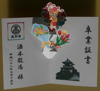 卒業祝いの手作りポップアップカードの内側 by はりの助